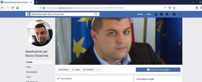 lo screenshot della pagina facebook