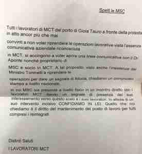 Il documento inviato dai portuali alla Msc