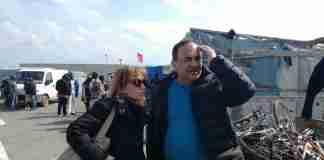 Angela Robbe e Mimmo Lucano alla tendopoli